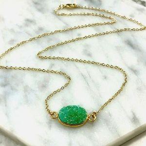 14K Gold Plated Druzy Quartz Crystal Necklace